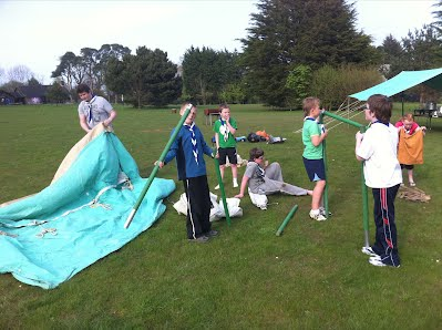 Scouts putting up there traditional Icelandic tent for a night at Crawfordsburn Scout Centre