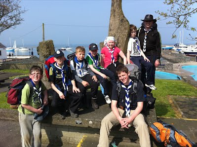 Exhausted Scouts and leaders after a 20km hike from Holywood to Groomsport