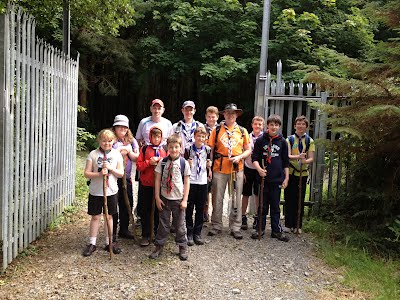 Scouts leaving campsite for a day hike in the Mournes